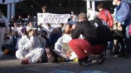 Klima-Demonstranten versperren Eingänge