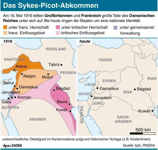Der Nahe Osten 1916 und heute: Von den Grenzen, die das Sykes-Picot-Abkommen vorsah, existieren heute noch einige. Die Ordnung ist völlig zerstört.