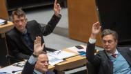 AfD-Politiker im Berliner Abgeordnetenhaus: Ronald Gläser, Georg Pazderski und Frank-Christian Hansel