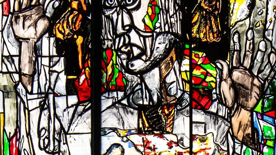 Detail aus dem im Entstehen begriffenen Reformationsfenster des Künstlers Markus Lüpertz für die Marktkirche in Hannover.