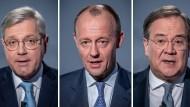 Eine Bildkombo zeigt die drei Kandidaten für den CDU-Parteivorsitz Norbert Röttgen (l-r) Friedrich Merz und Armin Laschet.