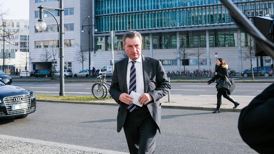 EU-Kommissar Günther Oettinger im März in Berlin