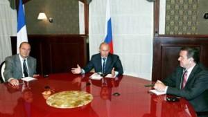 Schröder und Chirac bei Putin