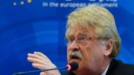 Der dienstälteste Abgeordnete im Europaparlament: Elmar Brok bei seiner letzten Pressekonferenz in Brüssel.