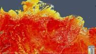 Die am 19.06.2020 vom ECMWF Copernicus Climate Change Service besorgte Karte zeigt die Oberflächentemperatur im Osten Sibiriens.