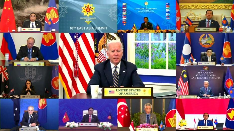 Der amerikanische Präsident Joe Biden spricht am 27. Oktober zu den Teilnehmern des virtuellen ASEAN-Gipfels