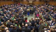 Ein Screenshot der Sitzung des britischen Parlaments am Mittwoch in London