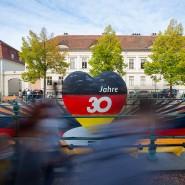 Einheitsfreude auch in Coronazeiten: Ein schwarz-rot-goldenes Herz am 3. Oktober in Potsdam