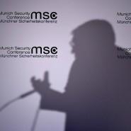 Den Ton vorgegeben: Der Schatten von Frank-Walter Steinmeier bei seiner Rede auf der Münchner Sicherheitskonferentz