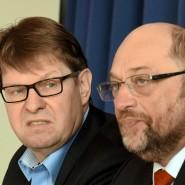 Für Offenhalten der linken Machtoption: Der stellvertretende SPD-Vorsitzende Ralf Stegner (links) berät SPD-Kanzlerkandidat Martin Schulz.