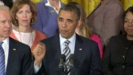Im Weißen Haus sprach Präsident Obama vor Familienmitgliedern der Opfer des Amoklaufs in Newtown.