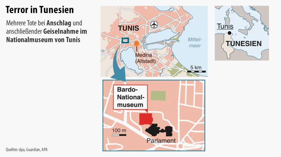 Das Bardo-Nationalmuseum liegt unmittelbar neben dem tunesischen Paralment
