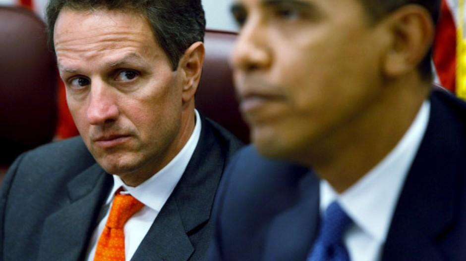 Stein des Anstoßes: Geithner und Obama