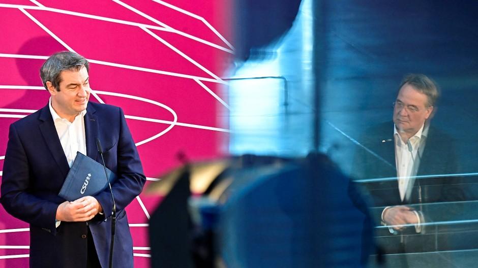 Sieht sich als Volkstribun: Markus Söder (CSU, l.), hier am 11. April mit Armin Laschet (CDU) in Berlin