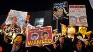 Demonstration gegen Shinzo Abe und seine Regierung am Montagabend in Tokio