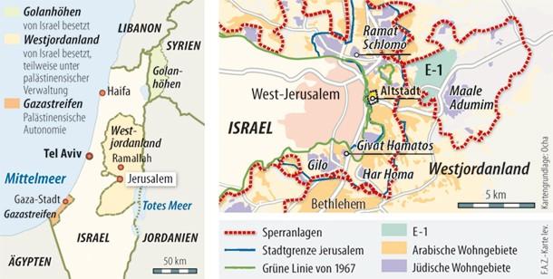 Siedlungsgebiete in Jerusalem und im Westjordanland