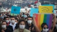 Proteste gegen die Ernennung von Melih Bulu zum Präsidenten der Bosporus-Universität am Mittwoch in Istanbul
