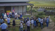 """Die Senatorin Elizabeth Warren hat am 8. August in Harlan, Iowa, ihren """"Plan für das ländliche Amerika"""" vorgestellt."""