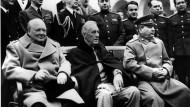 Winston Churchill, Franklin D. Roosevelt und Josef Stalin im Februar 1945 in Jalta