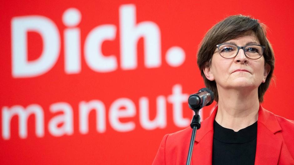 Gesprächsbedarf: Saskia Esken, Parteivorsitzende am 7. Februar in Berlin