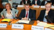 Die AfD-Politiker Beatrix von Storch (links), Martin Hess und Gottfried Curio (rechts) sitzen am 29. Mai bei der Sondersitzung des Bundestags-Innenausschusses zur Bamf-Affäre