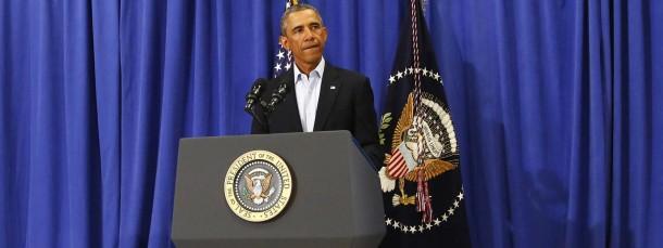 Gibt sich entschlossen: Präsident Obama kündigt weitere Luftschläge an.
