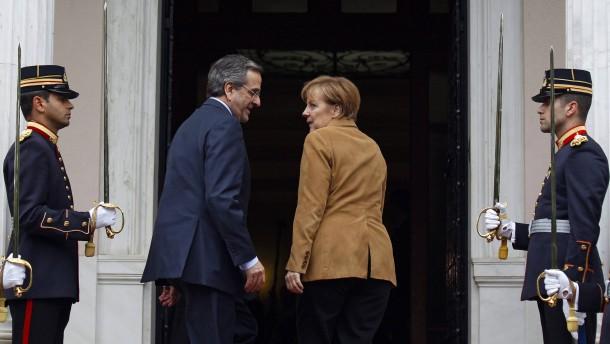 German Chancellor Merkel on visit to Athens