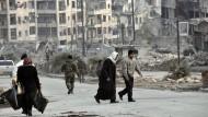 Straßenszene am 23. Dezember 2016 nach dem Fall von Aleppo.