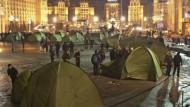 Anhänger Juschtschenkows harren in Zelten aus