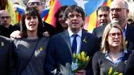 Puigdemont und seine Unterstützer am Samstag in Berlin.
