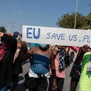 """""""EU, rette uns"""": Migranten demonstrieren auf der Insel Lesbos (Archivbild vom 14. September)"""