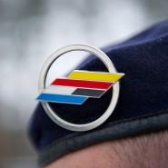 Das Abzeichen der Deutsch-Französischen Brigade auf dem Barett eines Soldaten des Verbands (Archivbild)