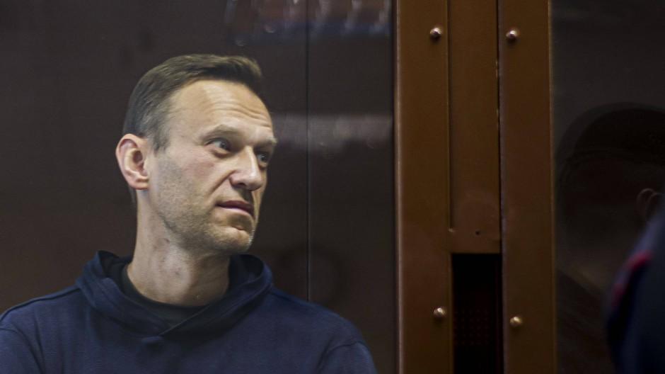 Alexej Nawalnyj während seiner Anhörung im Februar