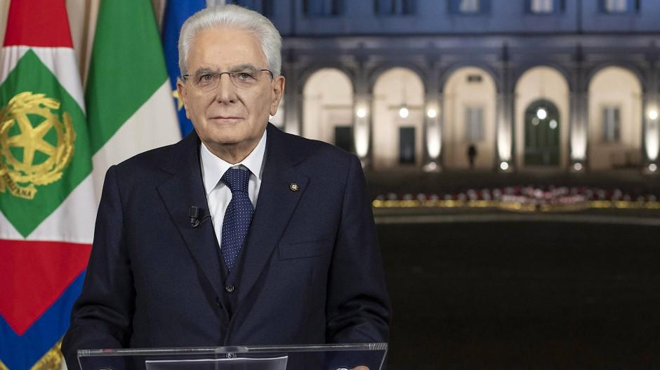 Die Linksparteien hoffen auf ihn: Italiens Staatspräsident Sergio Mattarella, hier bei seiner Neujahrsansprache am 31. Dezember 2020