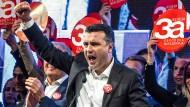 Mazedoniens Ministerpräsident Zoran Zaev auf einer Kundgebung Tage vor dem Referendum
