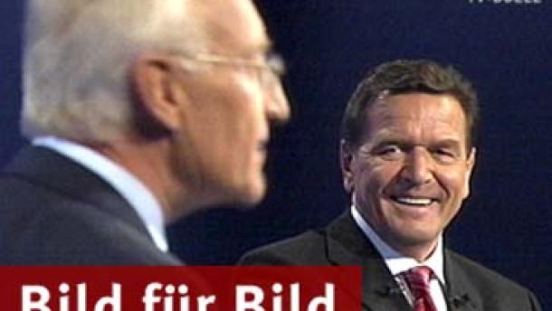 Stoiber angriffslustig, Schröder defensiv - Die ganze Debatte