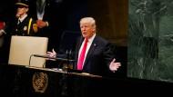 Donald Trump spricht vor Auftakt der UN-Generalversammlung bei einem bilateralen Treffen mit Südkoreas Präsident Moon Jae-in.