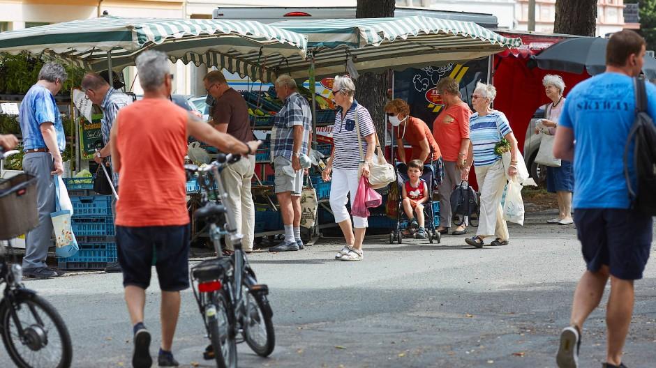 Der Wochenmarkt an der Elisabethstraße in Görlitz