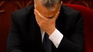 Ungarns Ministerpräsident Viktor Orbán am Dienstag im Parlament