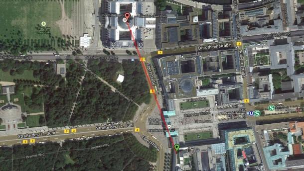Entfernung US-Botschaft zum Reichstag / google maps