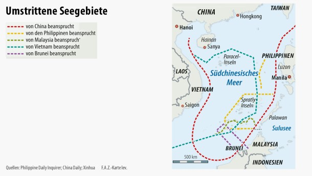 Infografik / Karte / Umstrittene Seegebiete Spratly-Inseln