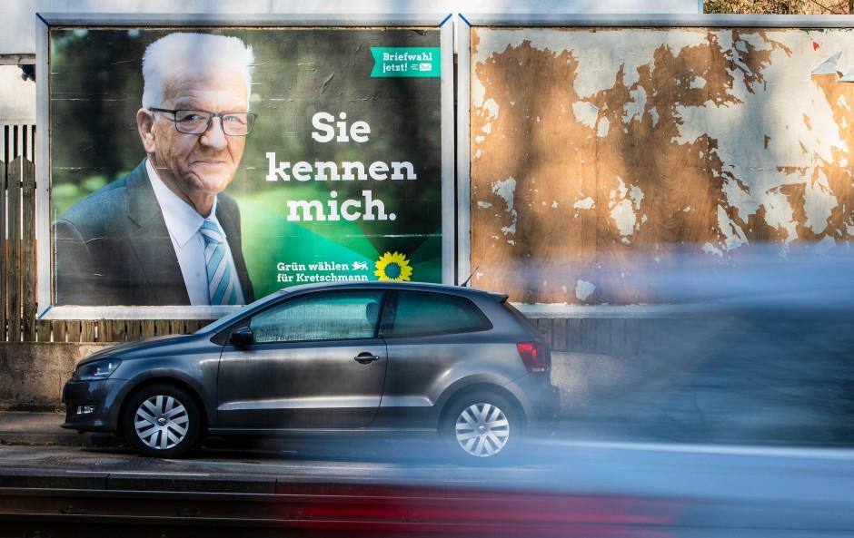 Wahlkampf in Baden-Württemberg: Ministerpräsident Winfried Kretschmann (Grüne) wirbt mit einem Merkel-Zitat für sich.