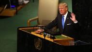 Im Angriffsmodus: Trump schießt vor der UN-Vollversammlung am 19. September gegen Iran.