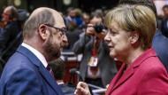 Eine(r) wird gewinnen: SPD-Herausforderer Martin Schulz gegen Kanzlerin Angela Merkel (CDU)