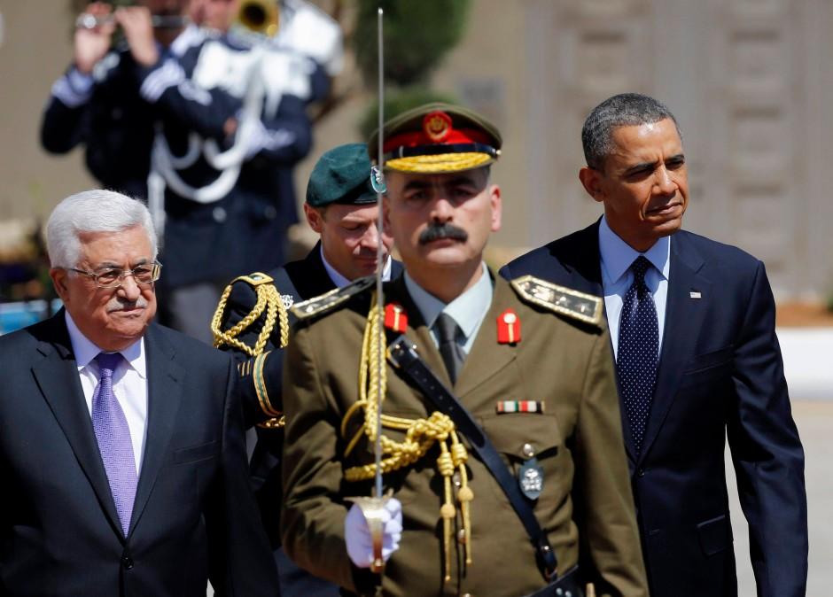 Empfang in Ramallah: der amerikanische Präsident Obama und Palästinenserpräsident Mahmud Abbas (links)