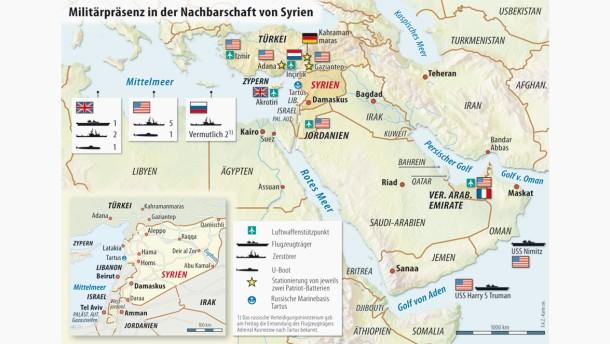 Karte / Militärpräsenz in der Nachbarschaft von Syrien