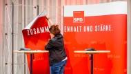 Aufräumen nach der SPD-Wahlparty