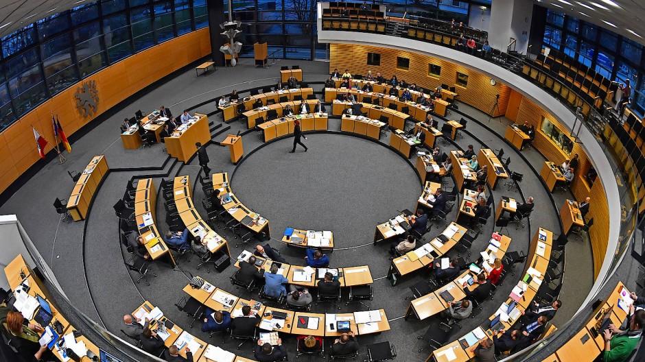 Der Plenarsaal des Thüringer Landtags