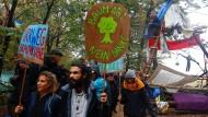 Demonstranten am Sonntag im Hambacher Forst