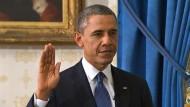 Die zweite Amtszeit von US-Präsident Obama begann in sehr kleinem Rahmen.